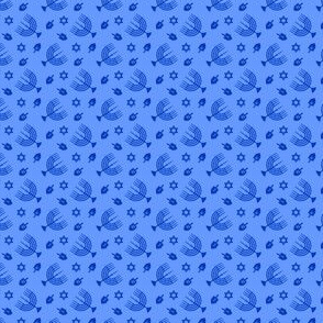 (micro scale)  Hanukkah - blue on blue - menorah, dreidel, Star of David C19BS
