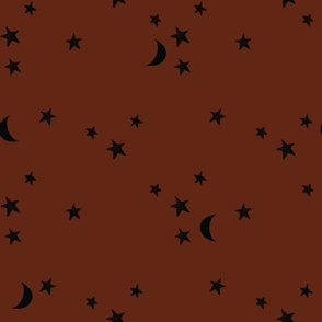 stars and moons // black on mohagony