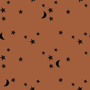 stars and moons // black on sable