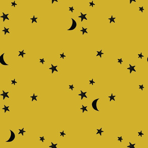 stars and moons // black on marigold