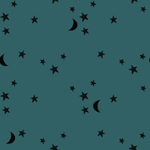 stars and moons // black on mallard