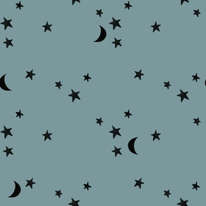 stars and moons // black on colonial