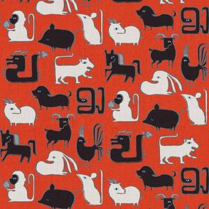 Chinese Zodiac Animals {Red}