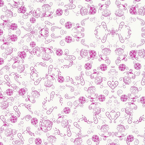 Pink and White Ornate Whimsy Floral