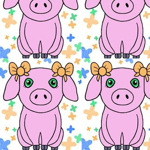 spoonflower piggie pink grey cross sttch-ed