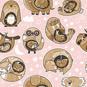 Animals with baby pink (vector)