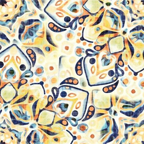 Stained Glass Mandalas - Mustard Yellow & Navy (Large Version)