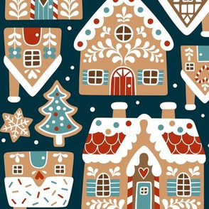 gingerbread village - dark blue, large