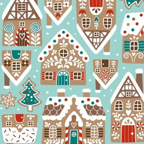 gingerbread city - light blue, small