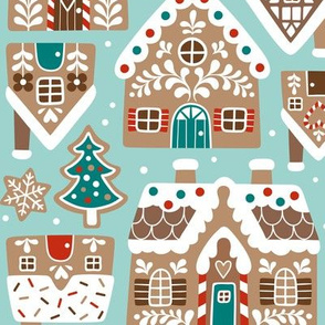 gingerbread city - light blue, large