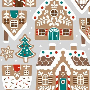 gingerbread village - light grey, large