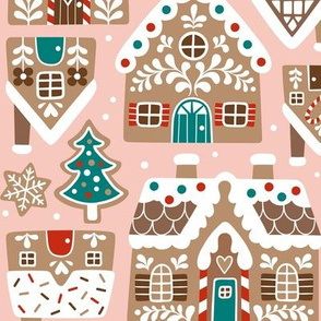 gingerbread village - light pink, large