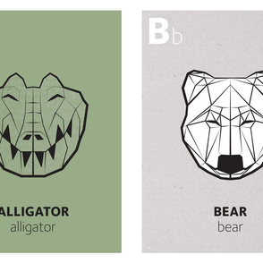 Geometric animal alphabet panels - A and B (green alphabet version)