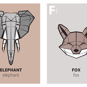 Geometric animal alphabet panels - E and  F (green alphabet version)
