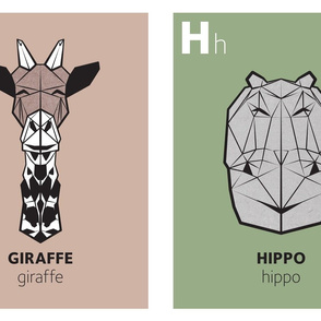 Geometric animal alphabet panels - G and H (green alphabet version)