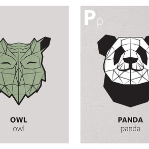 Geometric animal alphabet panels - O and P (green alphabet version)