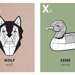 Geometric animal alphabet panels - W and X (green alphabet version)