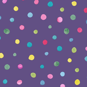 Watercolour Polkadots on Purple