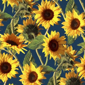 Sunflowers on Dark Blue small print