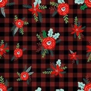 christmas floral fabric - red floral, christmas floral, poinsettia fabric - burgundy