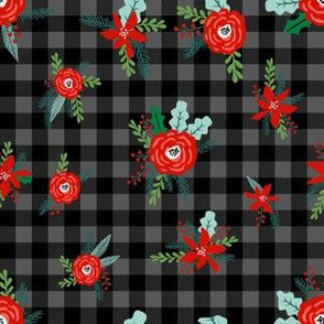 christmas floral fabric - red floral, christmas floral, poinsettia fabric - grey and black