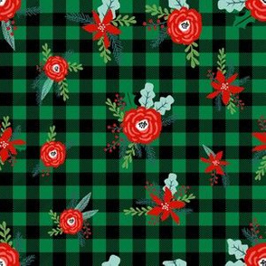 christmas floral fabric - red floral, christmas floral, poinsettia fabric - green plaid