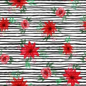 christmas floral fabric - red floral, christmas floral, poinsettia fabric - stripes