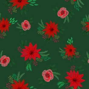 christmas floral fabric - red floral, christmas floral, poinsettia fabric - dark green