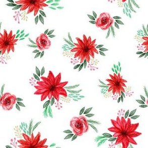 christmas floral fabric - red floral, christmas floral, poinsettia fabric - white