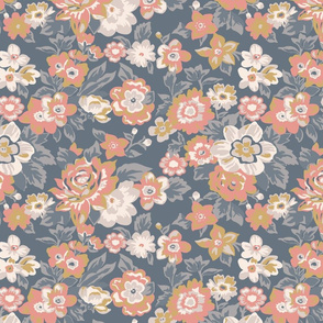 Coral and Gold Floral with Blue Ground