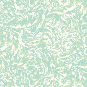 Green Paisley Leaf Swirl