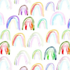Watercolor rainbows • colorful painted pattern for nursery, kids