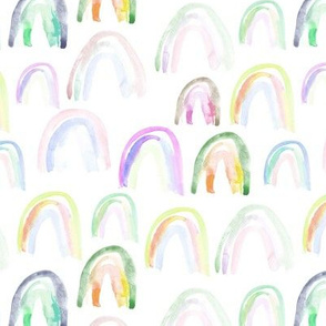 Watercolor soft rainbows • pastel design for nursery