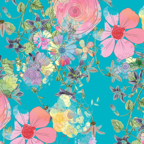 Flower Teal and Pink