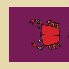 Retro Zodiac Cancer Tea Towel