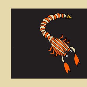 Retro Zodiac Scorpio Tea Towel
