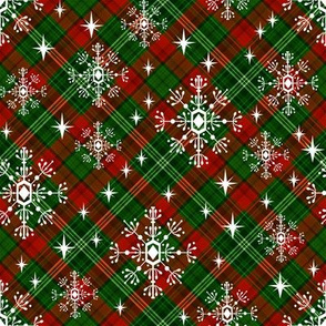 snowflake plaid  fabric - green and red plaid, green and red tartan, holiday fabric, christmas winter fabric