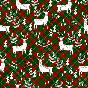 christmas plaid deer fabric - christmas tartan, christmas deer, woodland deer, christmas fabric - green and red tartan