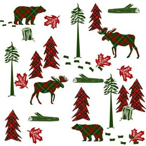 christmas plaid deer fabric - christmas tartan, christmas deer, woodland deer, christmas fabric