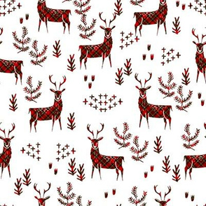 christmas plaid deer fabric - christmas tartan, christmas deer, woodland deer, christmas fabric - white