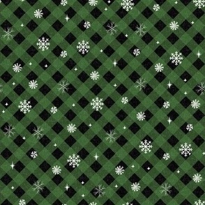 snow tartan fabric - snowflake fabric, snow fabric, christmas fabric, winter fabric - holiday fabric - green buffalo plaid