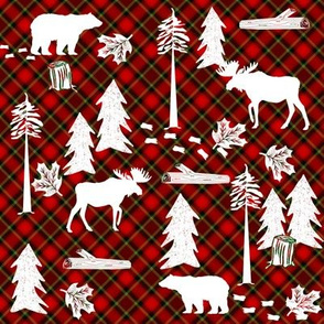 woodland tartan fabric - moose fabric, snow fabric, christmas fabric, winter fabric - holiday fabric - green and red