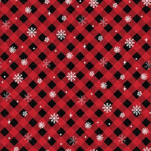 snow tartan fabric - snowflake fabric, snow fabric, christmas fabric, winter fabric - holiday fabric - red buffalo plaid