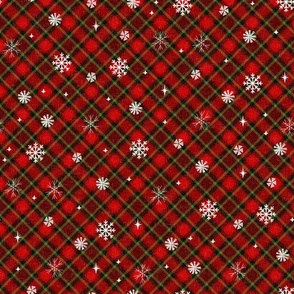 snow tartan fabric - snowflake fabric, snow fabric, christmas fabric, winter fabric - holiday fabric - green and red