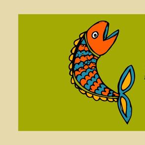Retro Zodiac Pisces Tea Towel