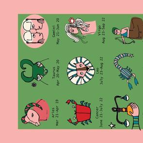 Retro Zodiac Pink Tea Towel