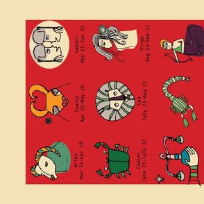 Retro Zodiac Red Tea Towel