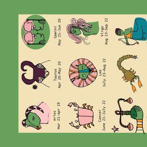 Retro Zodiac Green Tea Towel
