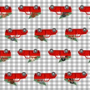 christmas dachshund red truck fabric - cute doxie fabric, cute dachshund fabric, dog fabric, dog design,  - grey check