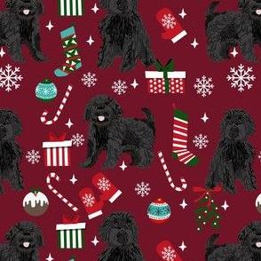 black cavoodle christmas fabric - cavapoo fabric, christmas dog fabric, cute cavoodle fabric - burgundy